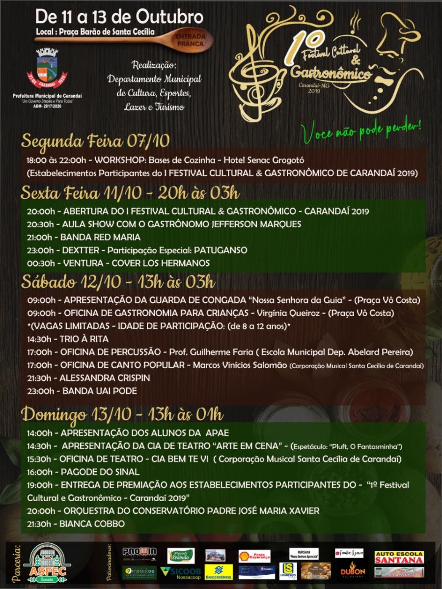 1º FESTIVAL CULTURAL & GASTRONÔMICO DE CARANDAÍ, CONFIRA A PROGRAMAÇÃO COMPLETA