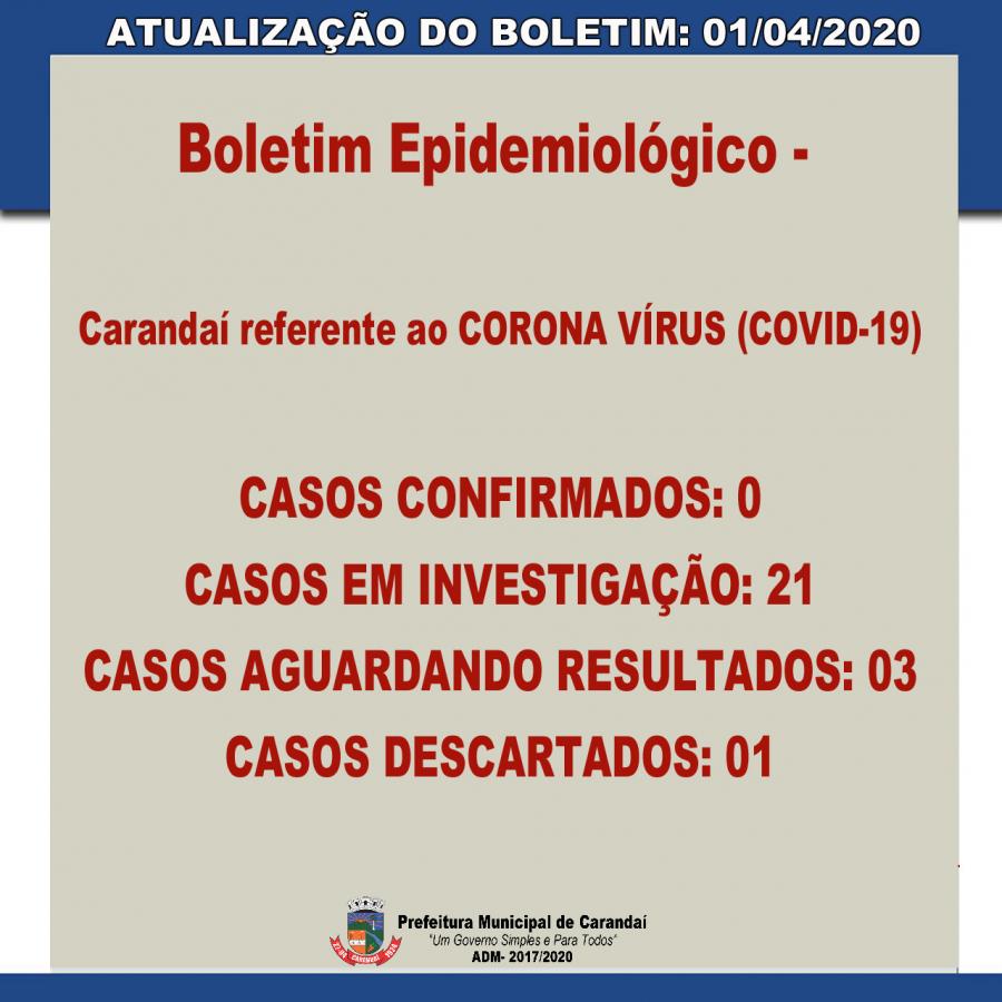 ATENÇÃO - NOVAS ATUALIZAÇÕES 01/04/2020