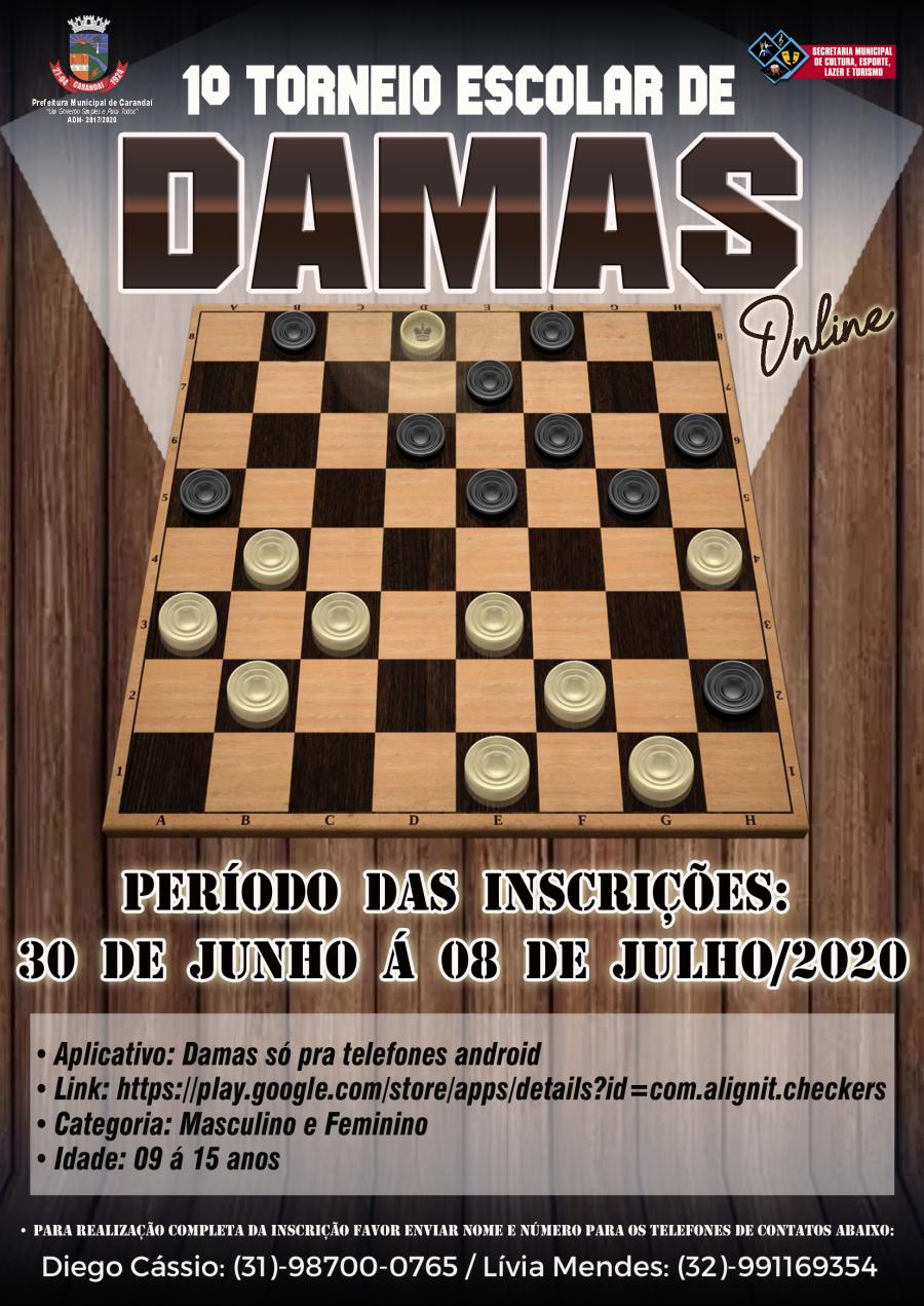 PARTICIPE DO 1º TORNEIO ESCOLAR ONLINE DE DAMA